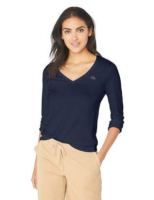 Lacoste Women's Long Sleeve Classic Supple Jersey V-Neck T-Shirt Shirt