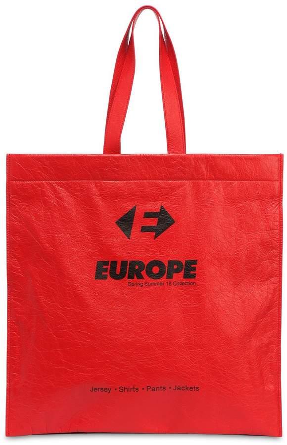 Balenciaga Supermarket Europa Leather Tote Bag