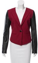 Rebecca Minkoff Leather-Accented Collarless Blazer