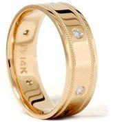 Pompeii3 Inc. Mens 14K Gold Diamond Comfort Fit Wedding Band Ring New