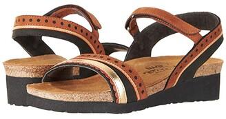Naot Footwear Beverly (Black Velvet Nubuck/Hawaiian Brown Nubuck/Gold Leather) Women's Shoes