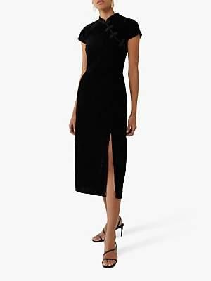 Warehouse Oriental Neck Velvet Midi Dress, Black