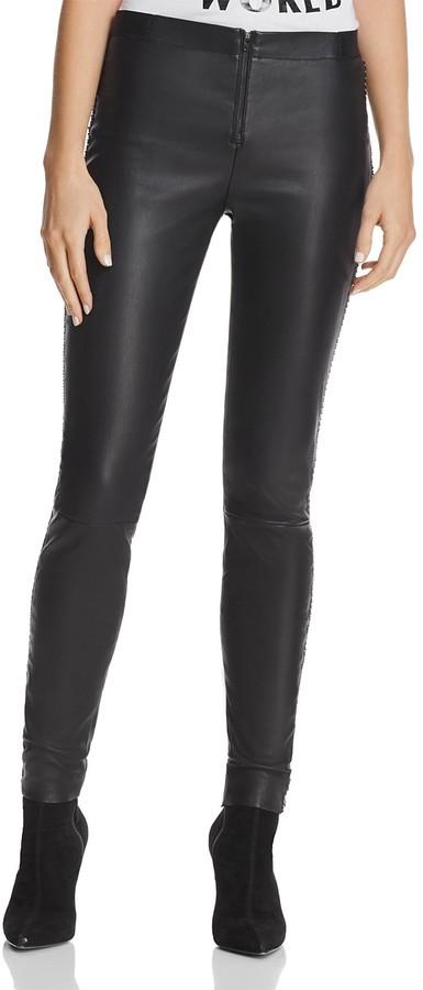 Alice + Olivia Maddox Chain-Detail Leather Leggings