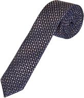 Oxford Silk Tie Dots Skinny Navy X