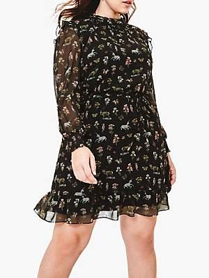 Oasis Curve Reggie Chiffon Blouse Dress, Black/Multi