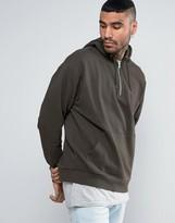 Asos Oversized Hoodie With Half Zip In Khaki