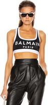 Balmain Print Sport Bra in Black   FWRD