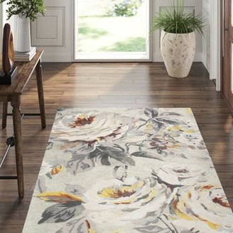 Company C Moonlit Floral Handmade Tufted Gray Area Rug CompanyC Rug Size: Rectangle 5' x 8'