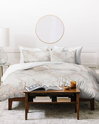 Express Deny Designs Pretty Rose Gold Marble Queen Duvet Cover Set