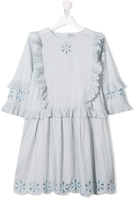 Stella McCartney TEEN embroidered ruffled dress