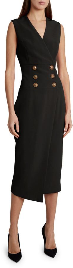 Balmain Crepe Button-Wrapped Midi Dress