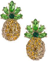 ABS by Allen Schwartz Gold-Tone Pavé Pineapple Stud Earrings