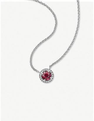 Vashi Halo 0.3ct ruby and 18k white-gold pendant necklace