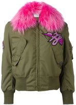 Forte Couture glitter patch bomber jacket