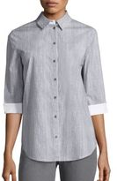 Lafayette 148 New York Paget Dotted Stretch-Cotton Blouse