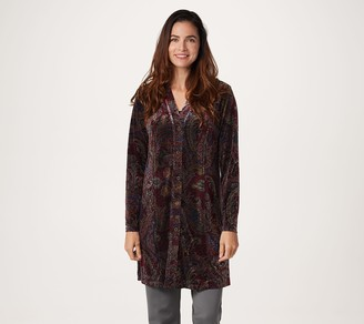 Susan Graver Printed Stretch Velvet Button Front Duster