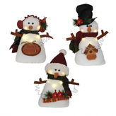 Asstd National Brand 11 LED Snowman With Signs- Set of 3 Assorted