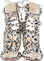 Webster Sophia Black & White Striped Lacey Gladiator Heels
