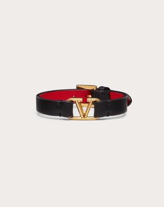 Valentino Vlogo Signature Calfskin Bracelet Women Black/pure Red Calfskin 100% OneSize