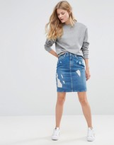Pepe Jeans Penny Ripped Denim Pencil Skirt