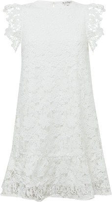 Miss Selfridge Ivory Tiered Lace Mini Dress