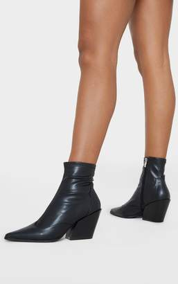 Indigo Black Point Toe Sock Ankle Western Boot