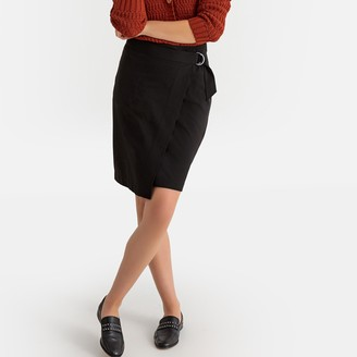 La Redoute Collections Wrapover Skirt with Buckled Belt
