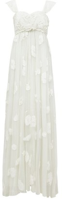 LoveShackFancy Irene Floral-applique Tulle Gown - White