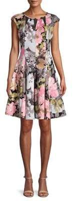 Gabby Skye Floral-Print Fit-&-Flare Dress