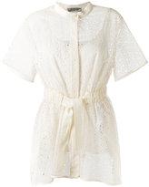 Sportmax shortsleeved belted shirt - women - Cotton/Linen/Flax/Polyester - 42