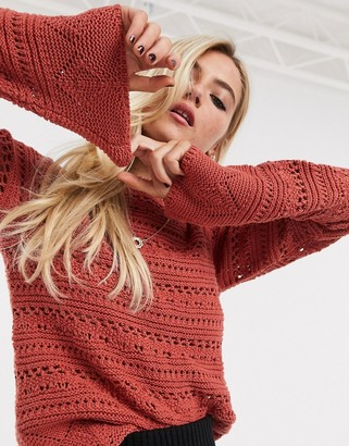 ASOS DESIGN crochet jumper with flared sleeve