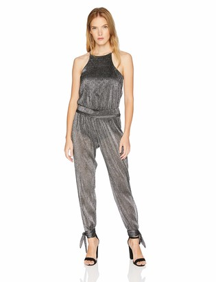 Halston Women's Sleeveless High Neck Jumpsuit with Ankle Ties