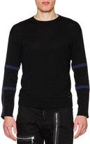 DSQUARED2 Tape-Trim Long-Sleeve Wool Sweater, Black/Blue