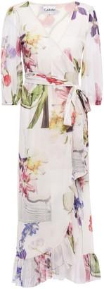 Ganni Ruffled Floral-print Stretch-mesh Midi Wrap Dress