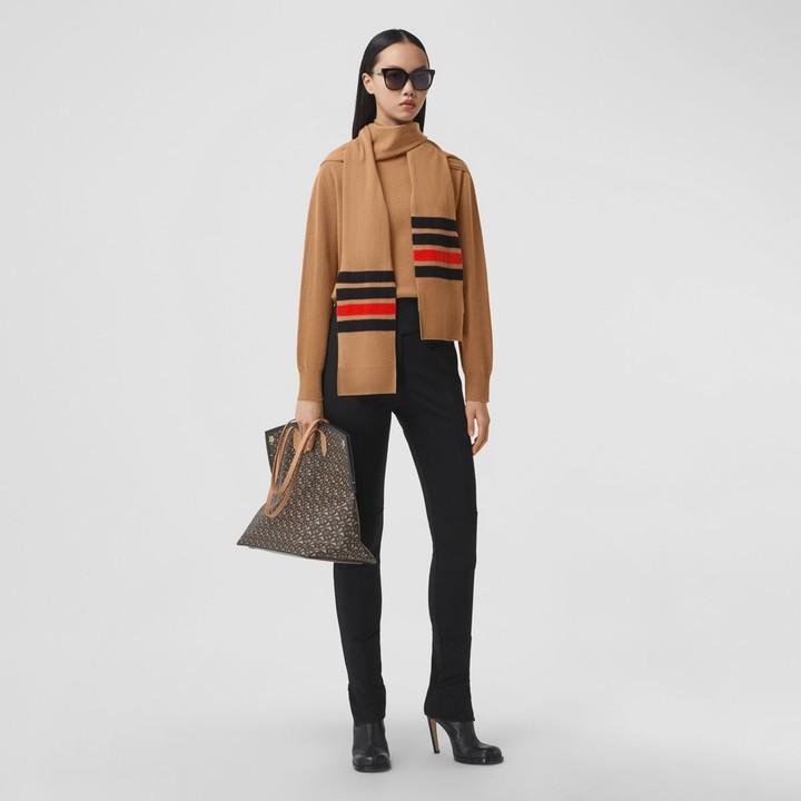Burberry Striped Scarf Detai Merino Woo Cashmere Sweater