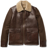 Schott - Type N-5a Shearling-trimmed Leather And Wool-blend Jacket