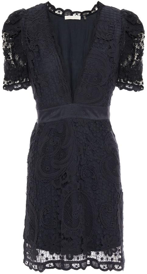 LoveShackFancy Daniela Satin-trimmed Crocheted Cotton-lace Mini Dress