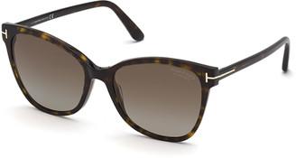 Tom Ford Ani Oversized Plastic Cat-Eye Sunglasses, Dark Havana