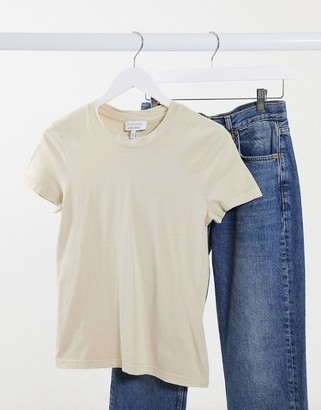 And other stories & organic cotton crew neck t-shirt in beige