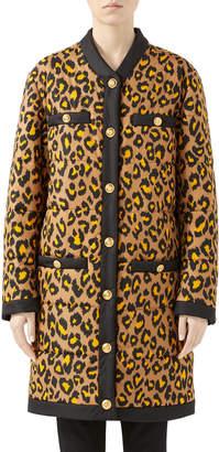 Gucci Disco Leopard Print Nylon Oversized Coat