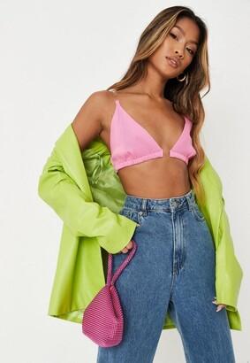 Missguided Pink Transparent Strap Knit Bralette