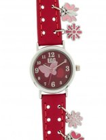 DDP 4039701 Girls' Analog Quartz Watch with Pink Leather Strap