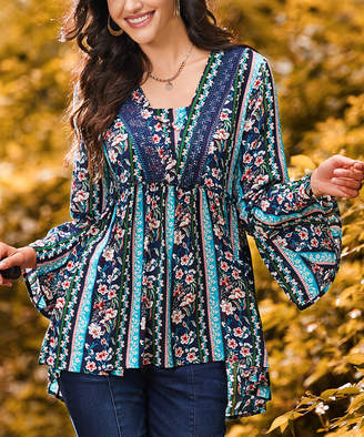 Suzanne Betro Weekend Women's Tunics 101TEAL - Blue & Pink Floral-Stripe Lace-Accent Empire-Waist Tunic - Women & Plus