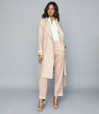 Reiss Isla - Textured Longline Mac in Pink