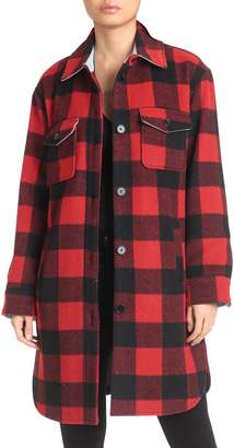 AVEC LES FILLES Buffalo Check Wool-Blend Coat