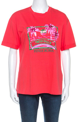 Fendi Coral Red Cotton Embellished Detail Trevi Falls T-Shirt XS