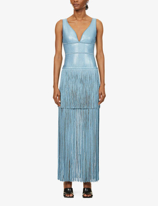 Herve Leger Fringed bandage stretch-woven midi dress