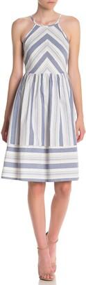 Bailey Blue Striped Cotton Keyhole Dress