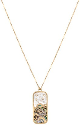 L'ATELIER NAWBAR Yellow Gold and Diamond Elements of Love Water Pendant Necklace