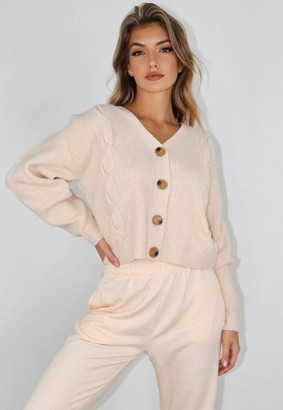 Missguided Stone Cable Knit Shoulder Lip Cardigan